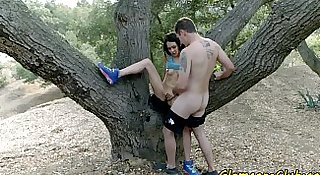 Petite babe pussyfucked outdoors