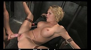 Blonde slut tied up, stripped and fucked