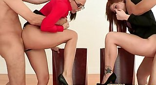 Femdom milfs in lingerie riding their subs