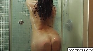 Erotic showering with super hot MILF